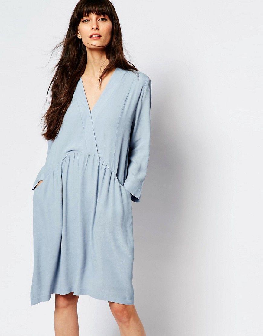 Image 1 ofJust Female Lola Smock Dress in Celestial Blue