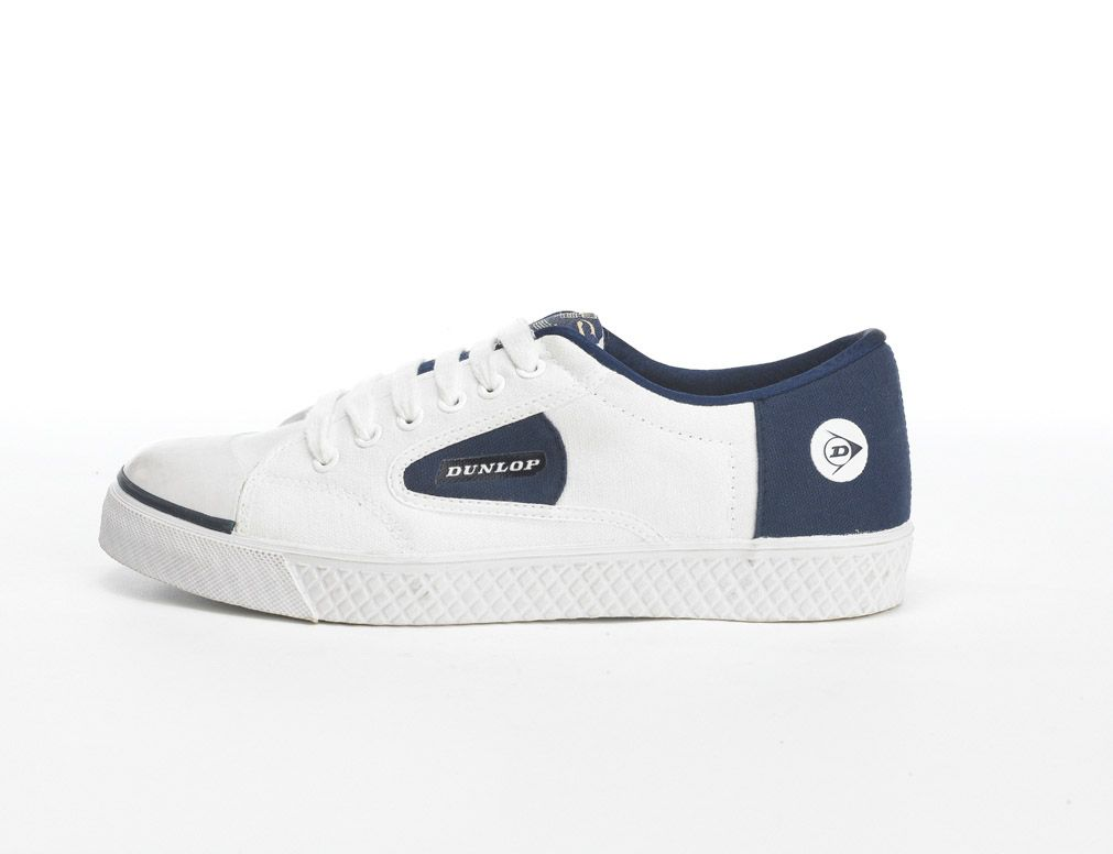 Mens White Navy Flash Trainers | Mens Dunlop Green Flash 1555