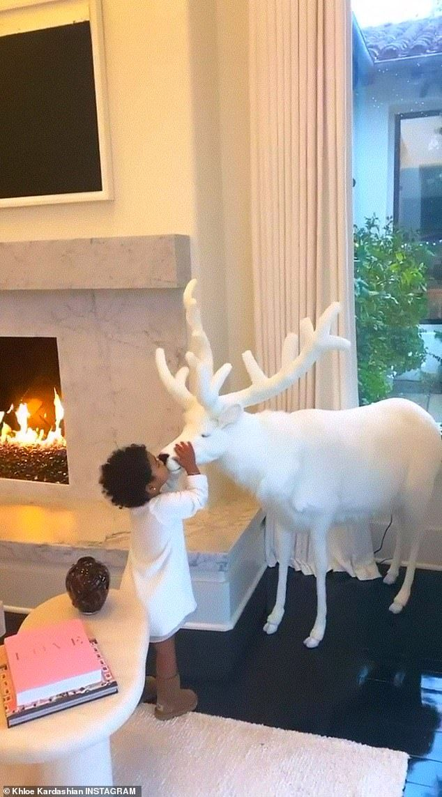 Khloe Kardashian shows off her lavish Christmas decorations to True #khloekardashianhouse