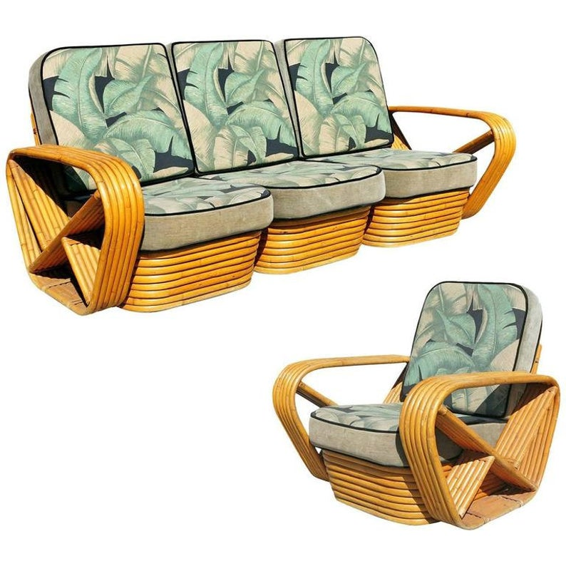 Red Paul Frankl Style Sofa And, Paul Frankl Rattan Furniture