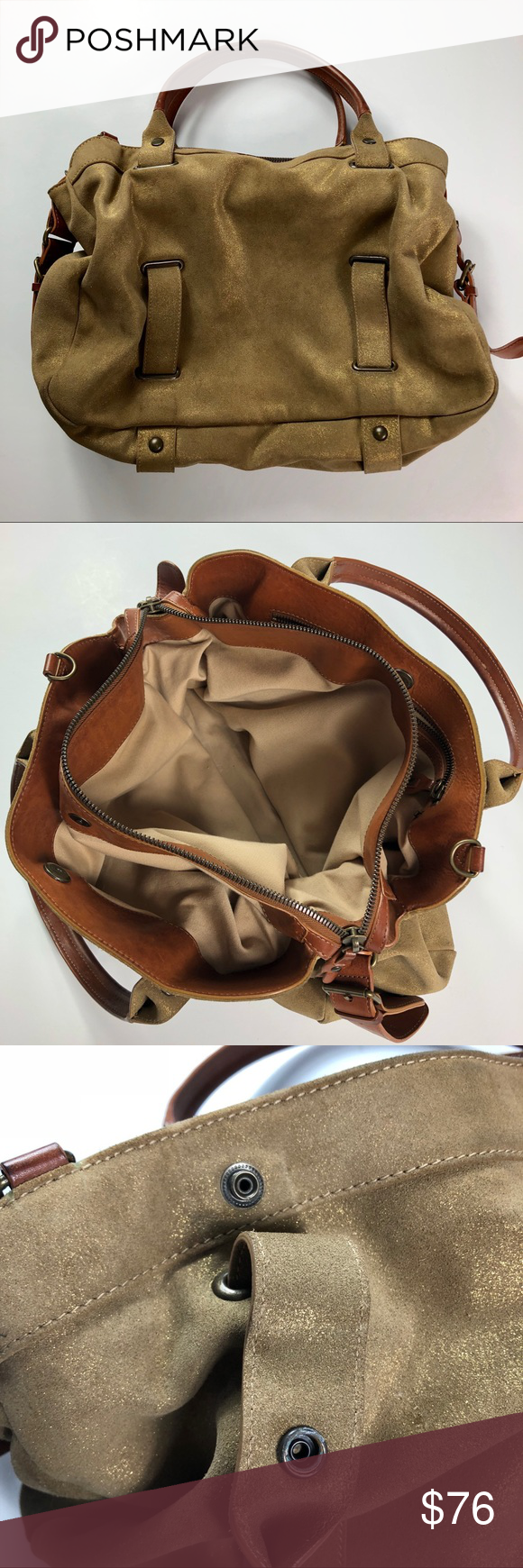 075ee96e6b Theory Suede Leather Handbag Theory suede handbag w leather handles    detailing. Truly gorgeous craftsmanship. Color is a dark tan accented w gold .