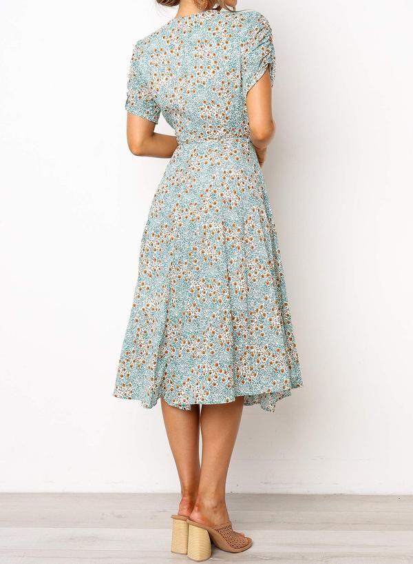 Deep V-neck Wrap Style Floral Midi Dress -   16 beauty Dresses floral ideas