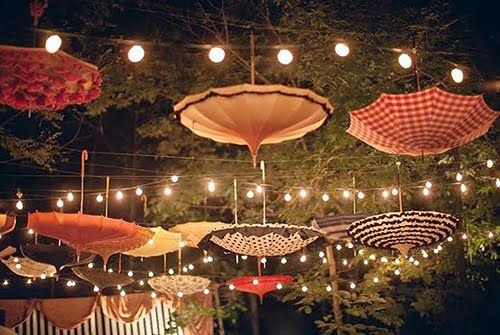Lighting Ideas For Outdoor Weddings Umbrella And Light Decoration