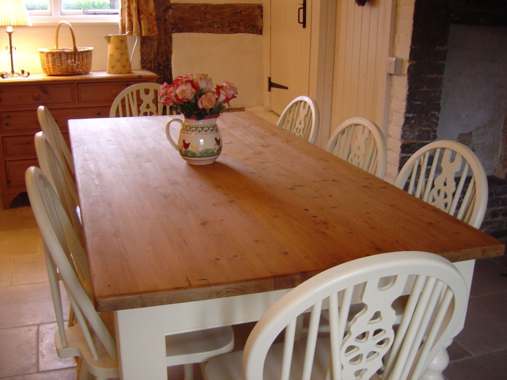 6ft solid pine table with 2 drawers and 8 wheelback chairs/shabby ...