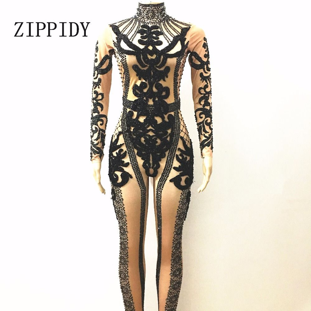 73f99070a1f Sparkly Black Rhinestones Jumpsuit Prom Performance Outfit Party Celebrate Glisten  Crystals Costume Bodysuit Stage Rompers