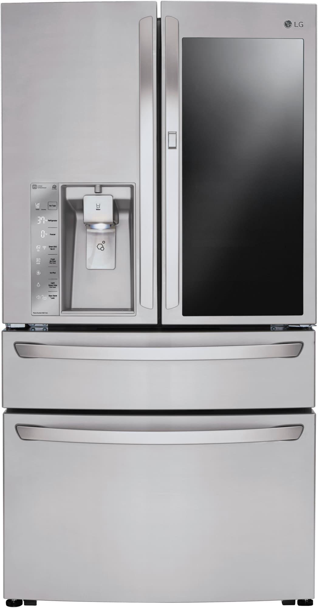Lg Lmxc23796s 36 Inch Counter Depth 4 Door Smart French Door Refrigerator With 22 7 Cu Ft Capacity Instaview Door In Door Ice And Water Dispenser Dual Ev Lg French Door Refrigerator Counter Depth French