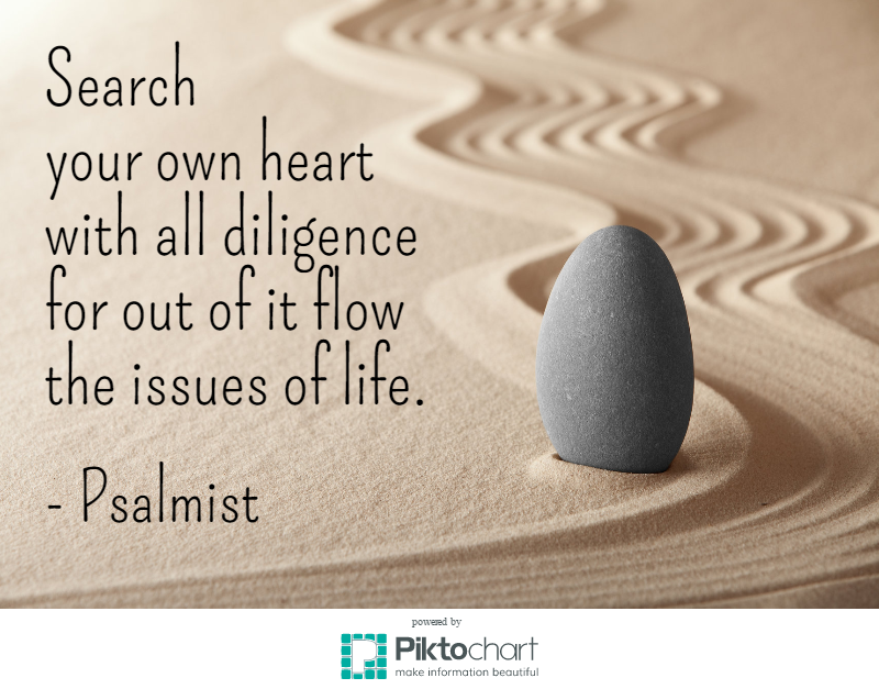 Image result for Search your own heart with all diligence, for out of it flows the issues of your life.