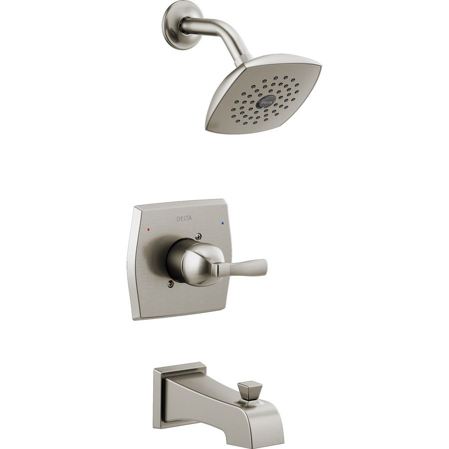 Delta Flynn Stainless 1-Handle Bathtub and Shower Faucet with ...