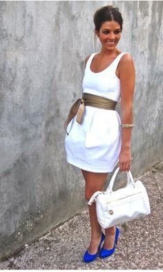 cute white dress with belt