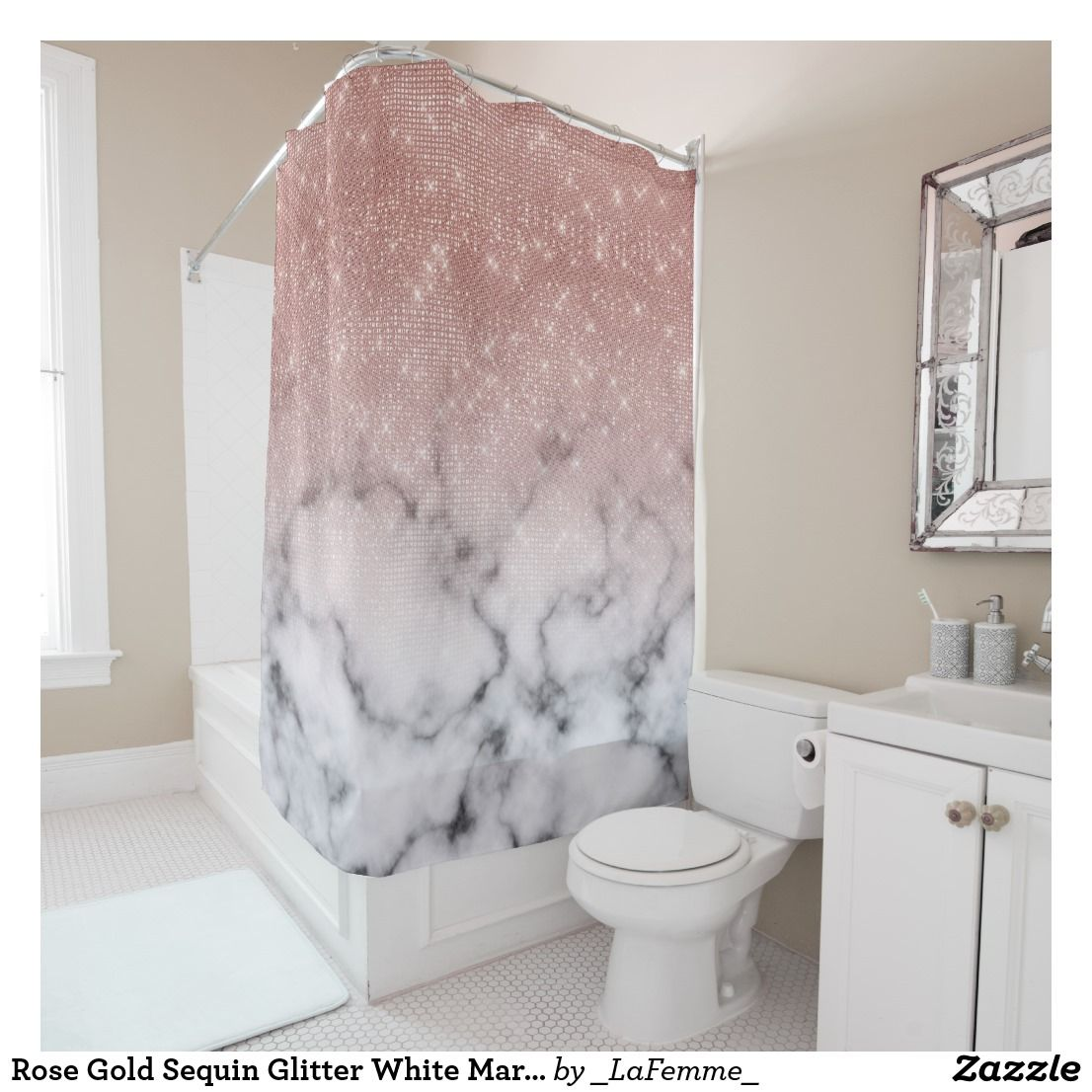 Rose Gold Sequin Glitter White Marble Ombre Shower Curtain