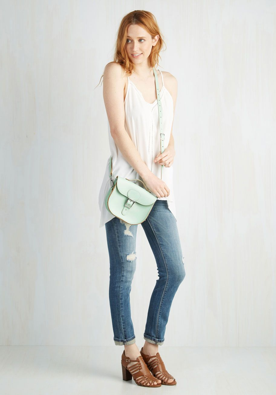 Have Style, Will Travel Bag in Mint. From plane to train to automobile, you boast eye-catching zeal with this charming pastel crossbody bag from hard-to-find UK brand Brit-Stitch - whose history began in 67 with a milkmans cash bag and continues through you! #mint #modcloth