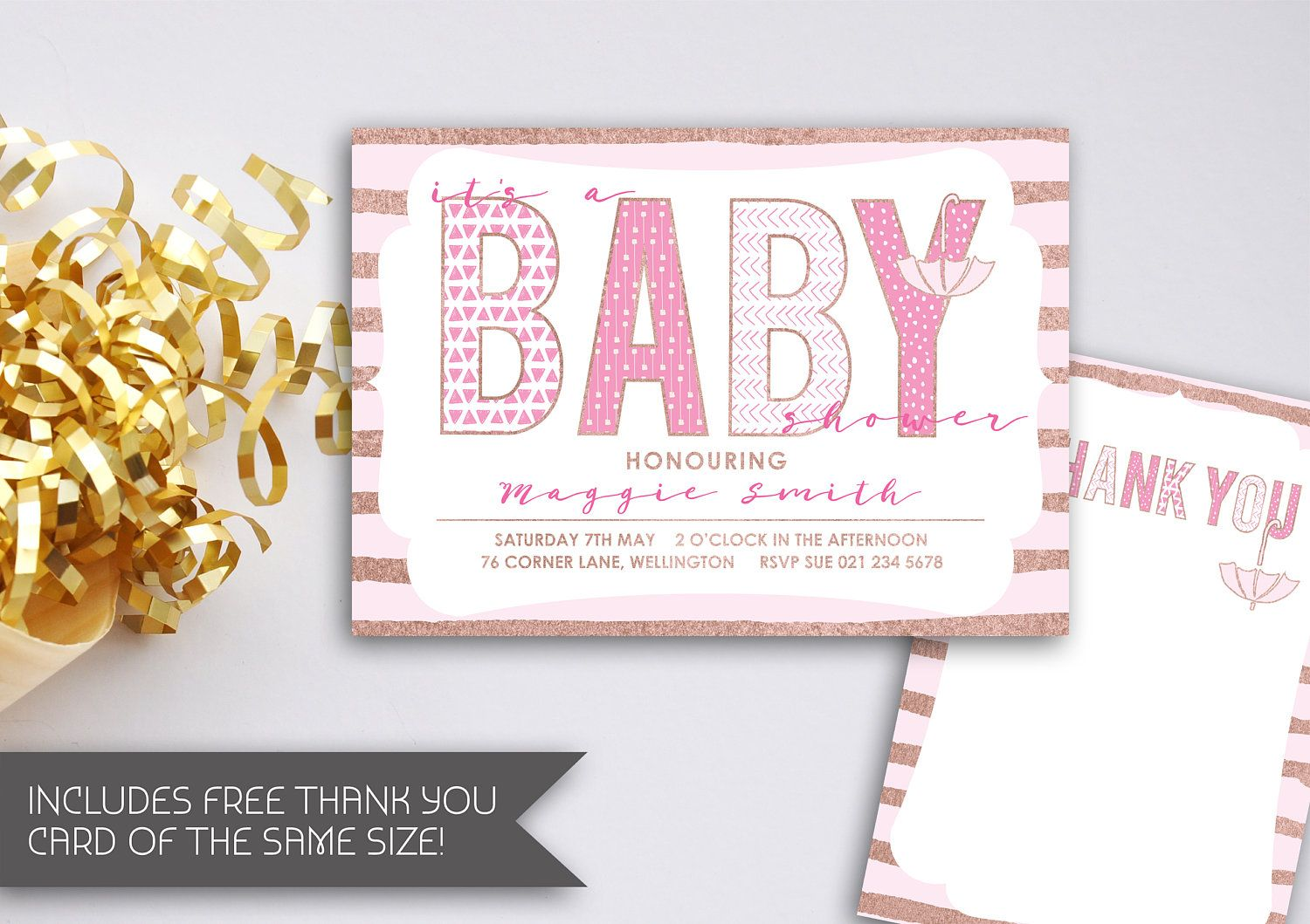Pink and Rose Gold Baby Shower Invitation   Printable Baby Girl ...