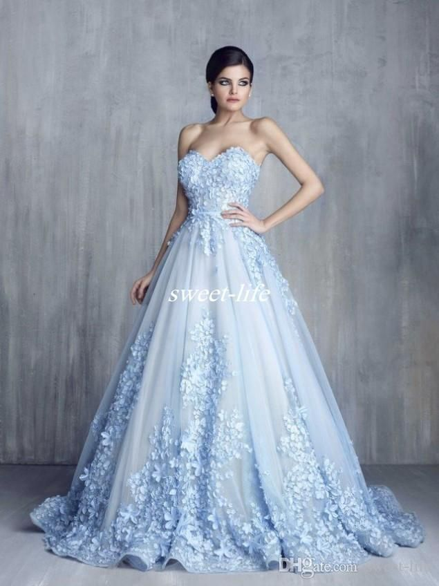33510661ecd Ziad Nakad Charming 3D Floral Light Blue Appliques Long Evening Dresses  2017 Handmade Flower Sweetheart Ball