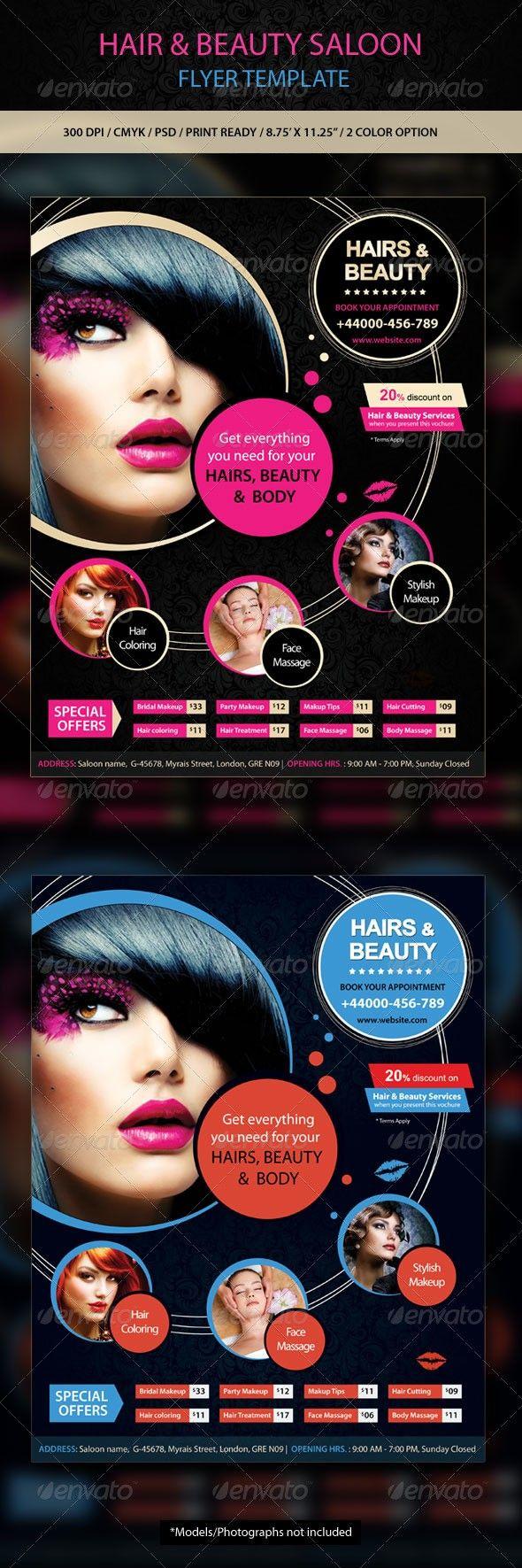 Hair Beauty Saloon Flyer Flyer Design Pinterest Fonts And