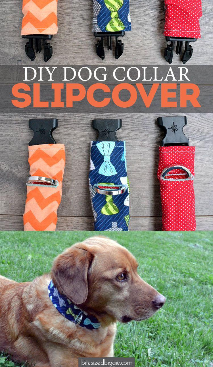 Dog Collar Slipcover Tutorial Diy Dog Collar Dog Crafts Dog Toys