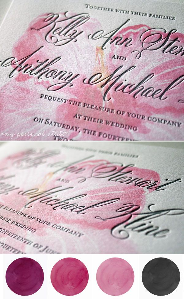 Modern Letterpress Wedding Invitations Gorgeous calligraphy font