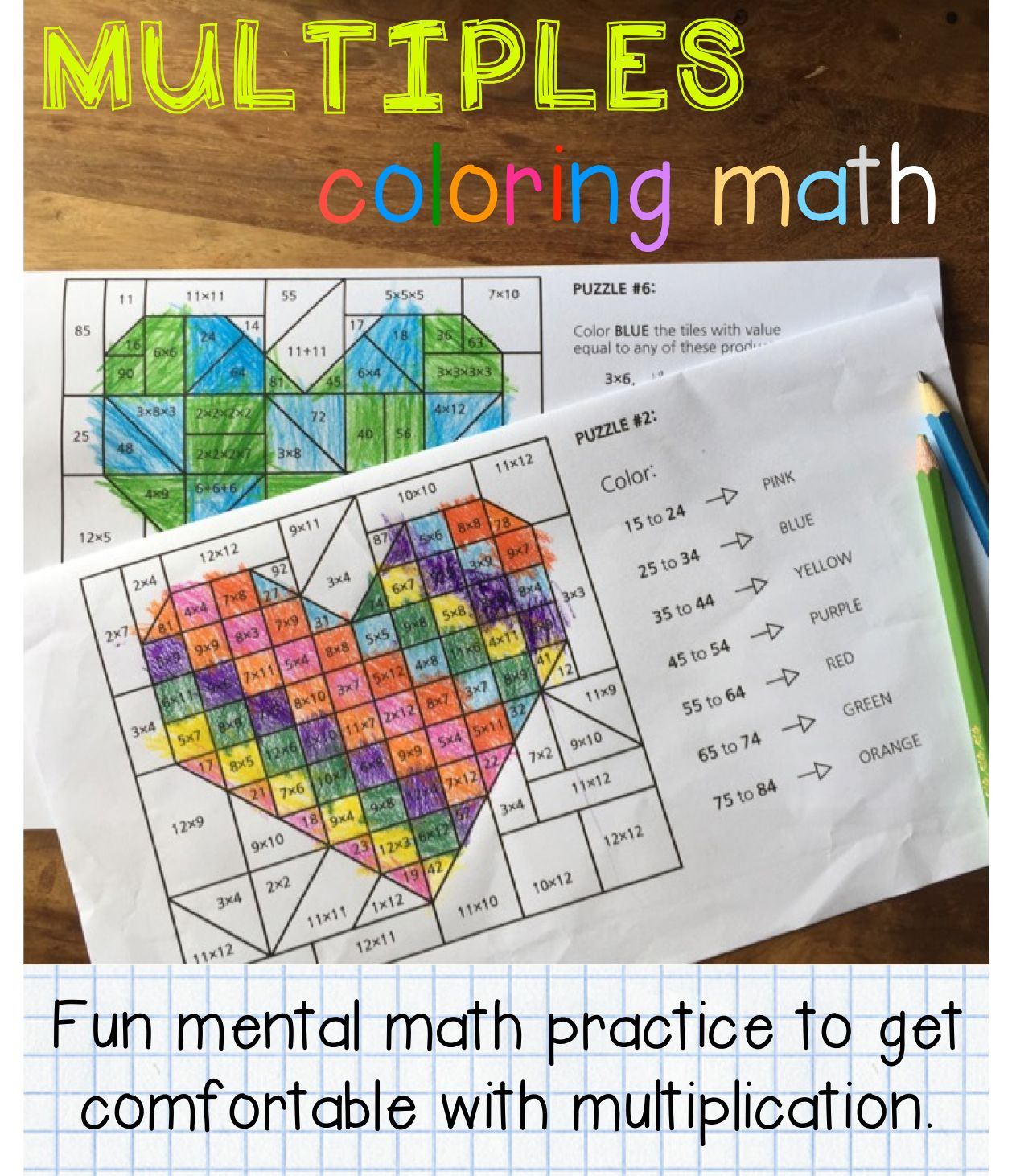 Valentines Day Coloring Math Times Tables Multiples And