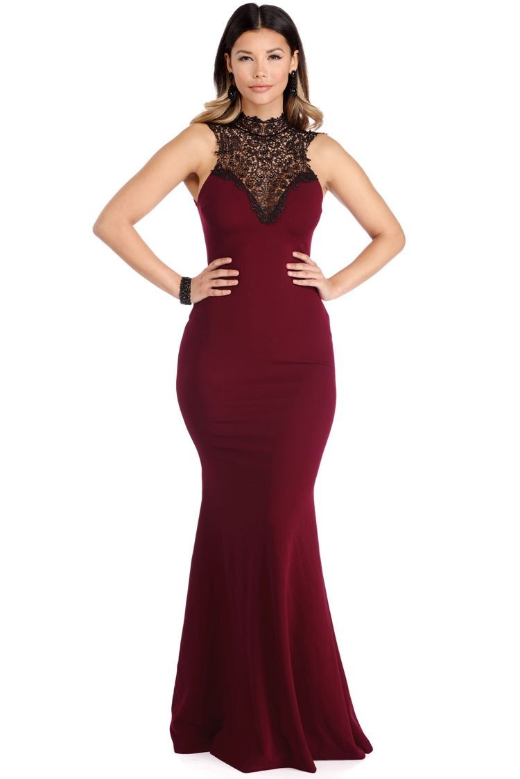 Evie burgundy nobility dress models lace and flare