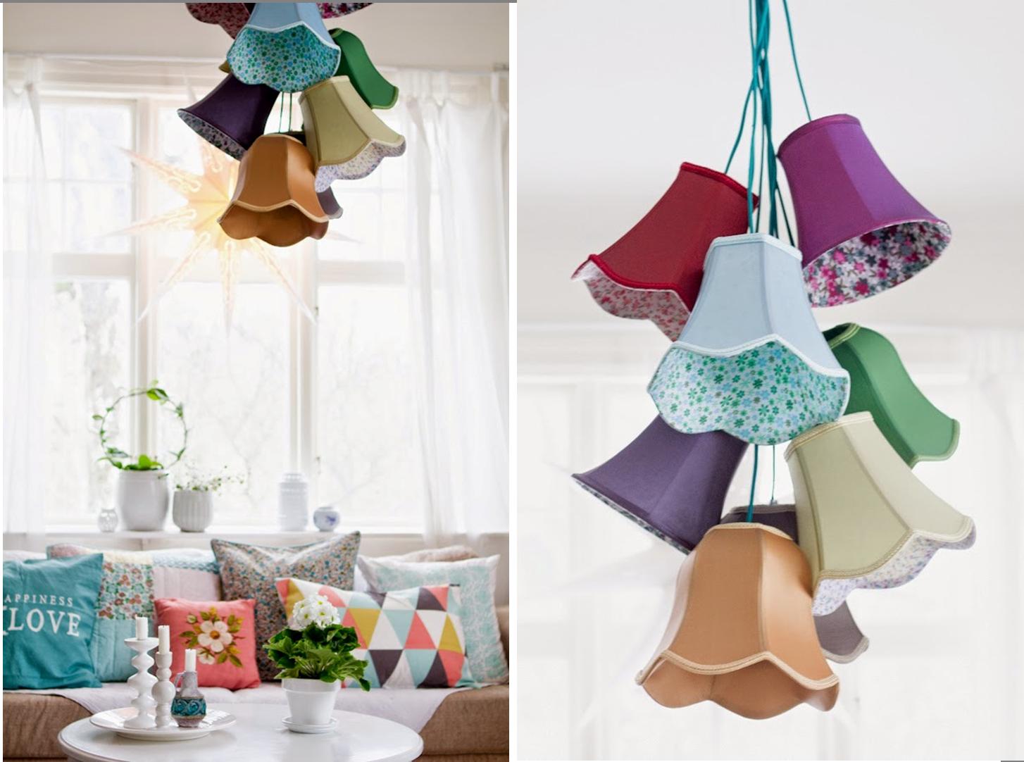 Decorando con lámparas de tulipas de tela   DIY