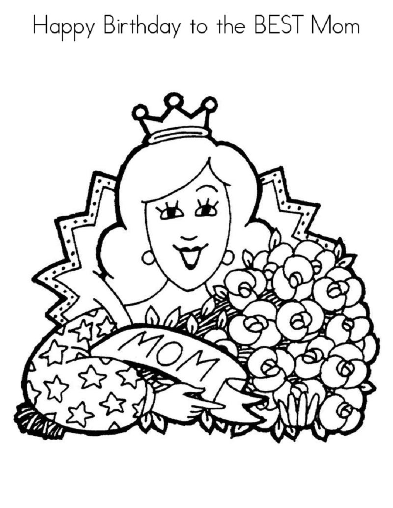 Happy Birthday Mom Coloring Page Printable | Happy ...