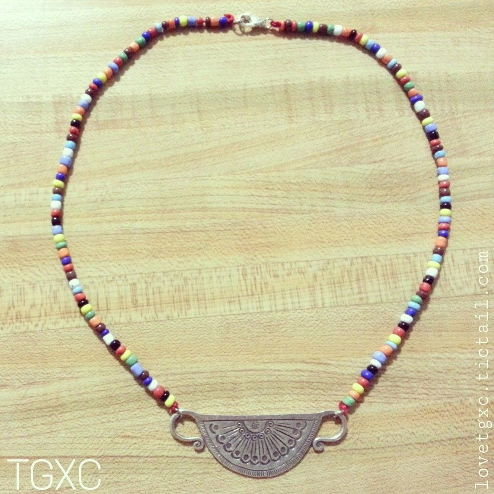 Beaded Fine Silver Half Moon Soul Lock Necklace via TGXC. Click on the image to see more!