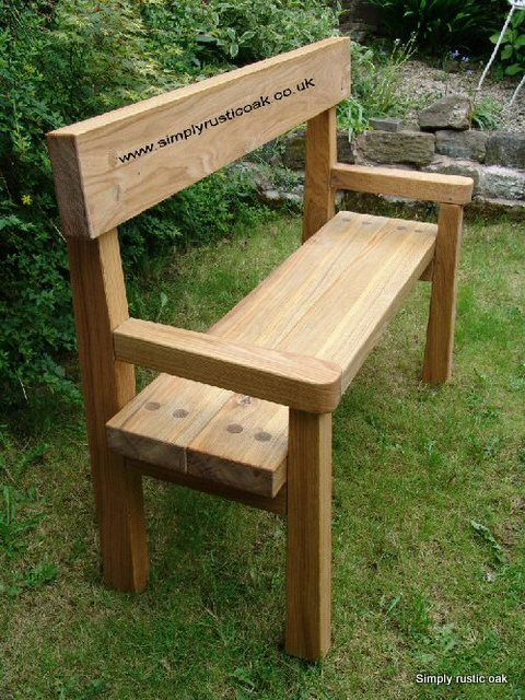 Garden Furniture Handmade rustic oak garden bench with back and arms. handmade from rustic