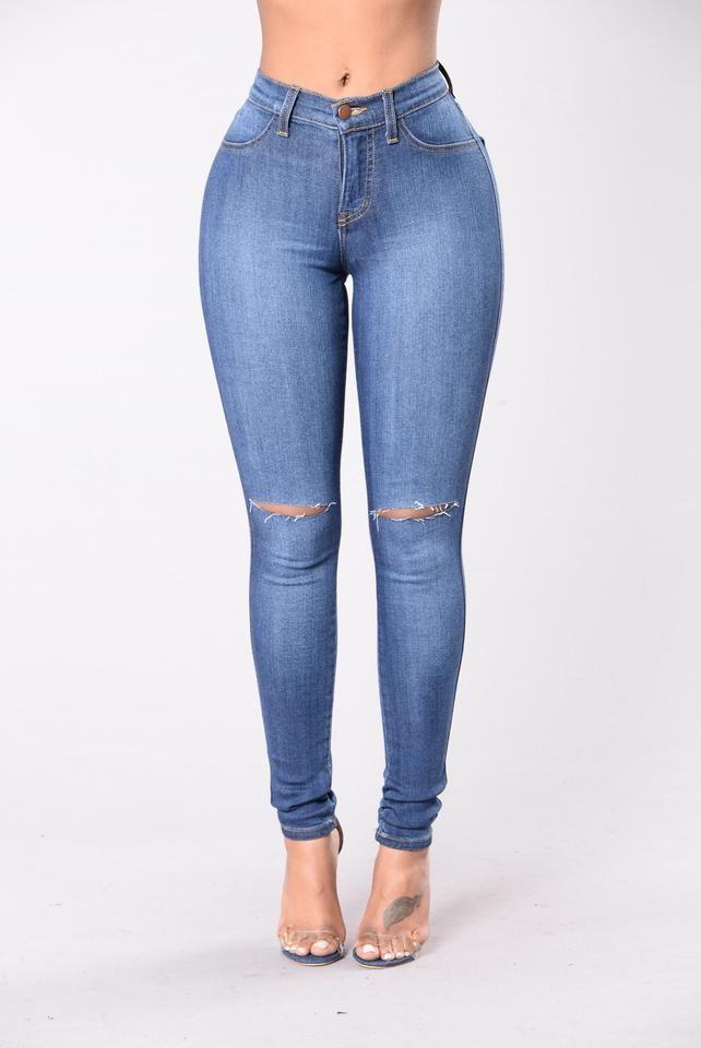 5a3af7640c Classic High Waist Skinny Jeans - Medium Blue