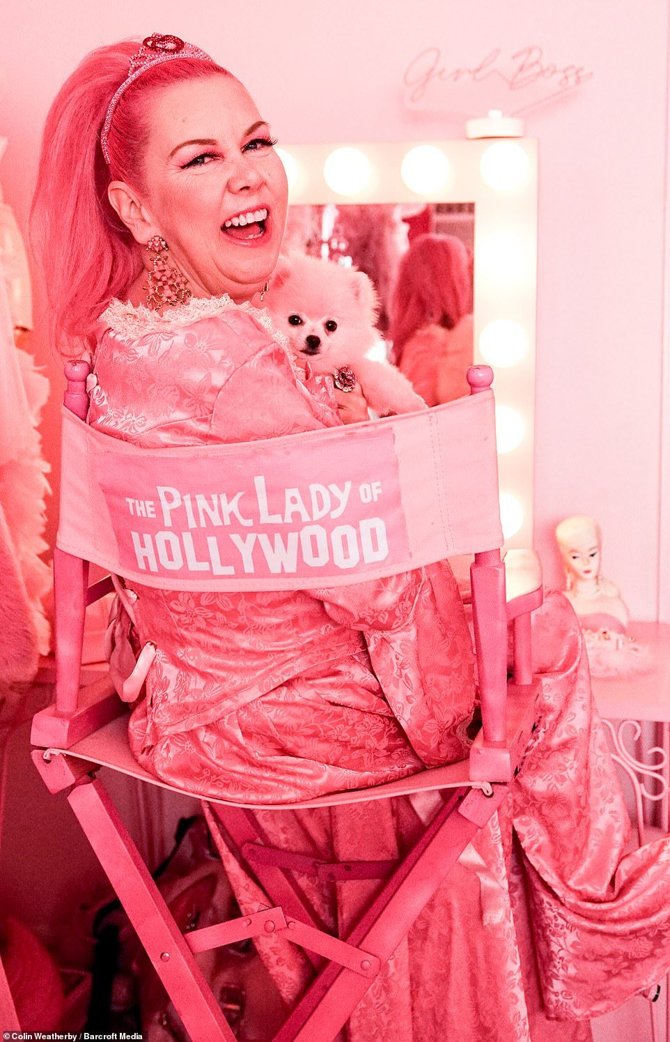 Woman Obsessed With Pink Finds A Colorful Best Friend Pink Pink Ladies Pink Dog