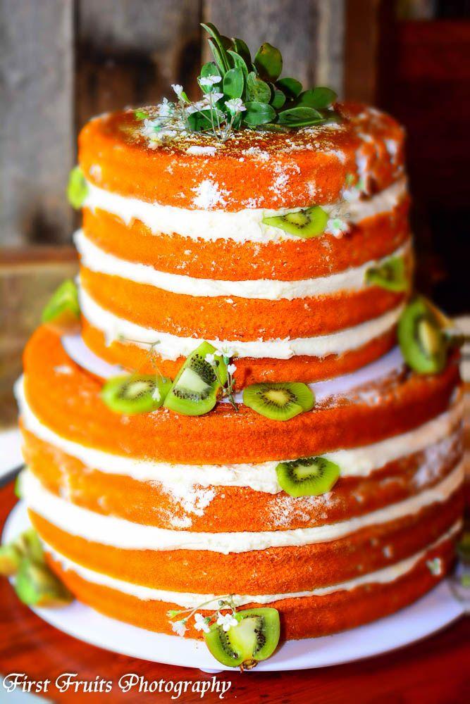 Naked Cake- Big Orange Velvet With Fresh Kiwi  C A K E -8352