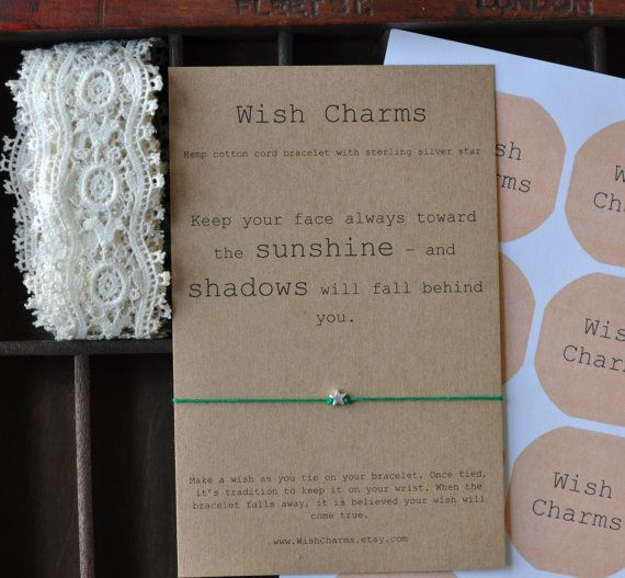 Wish Friendship Bracelet - Sterling Silver Bead - Motivational Quote - Hemp Cord - Wish String Star Bracelet Gift Art Card Charm on Etsy, £3.50