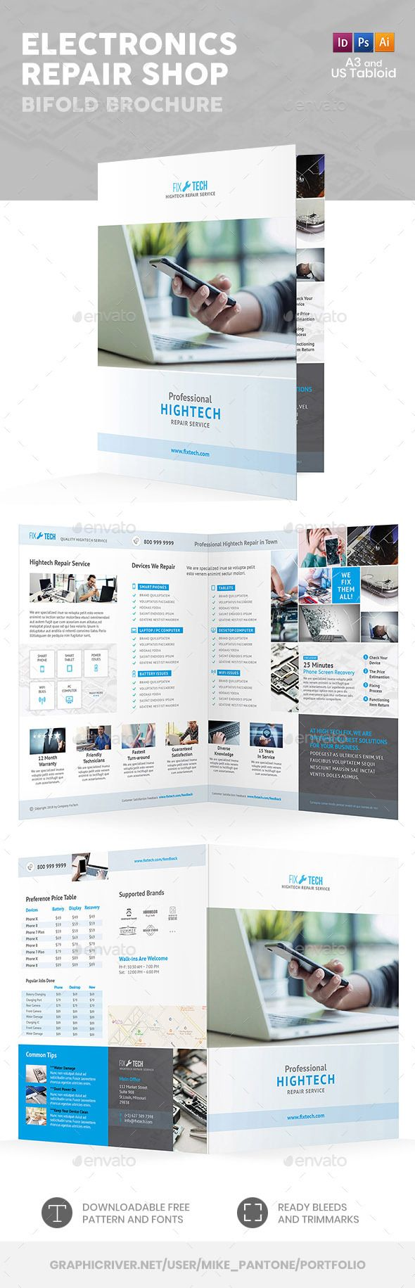 electronic repair shop bifold halffold brochure fully editable professional template for an information brochure