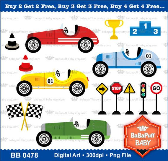 buy 2 get 2 free vintage racing cars clipart by babapuffbaby 5 00 rh pinterest com free printable race car clipart Racing Clip Art Free Downloads
