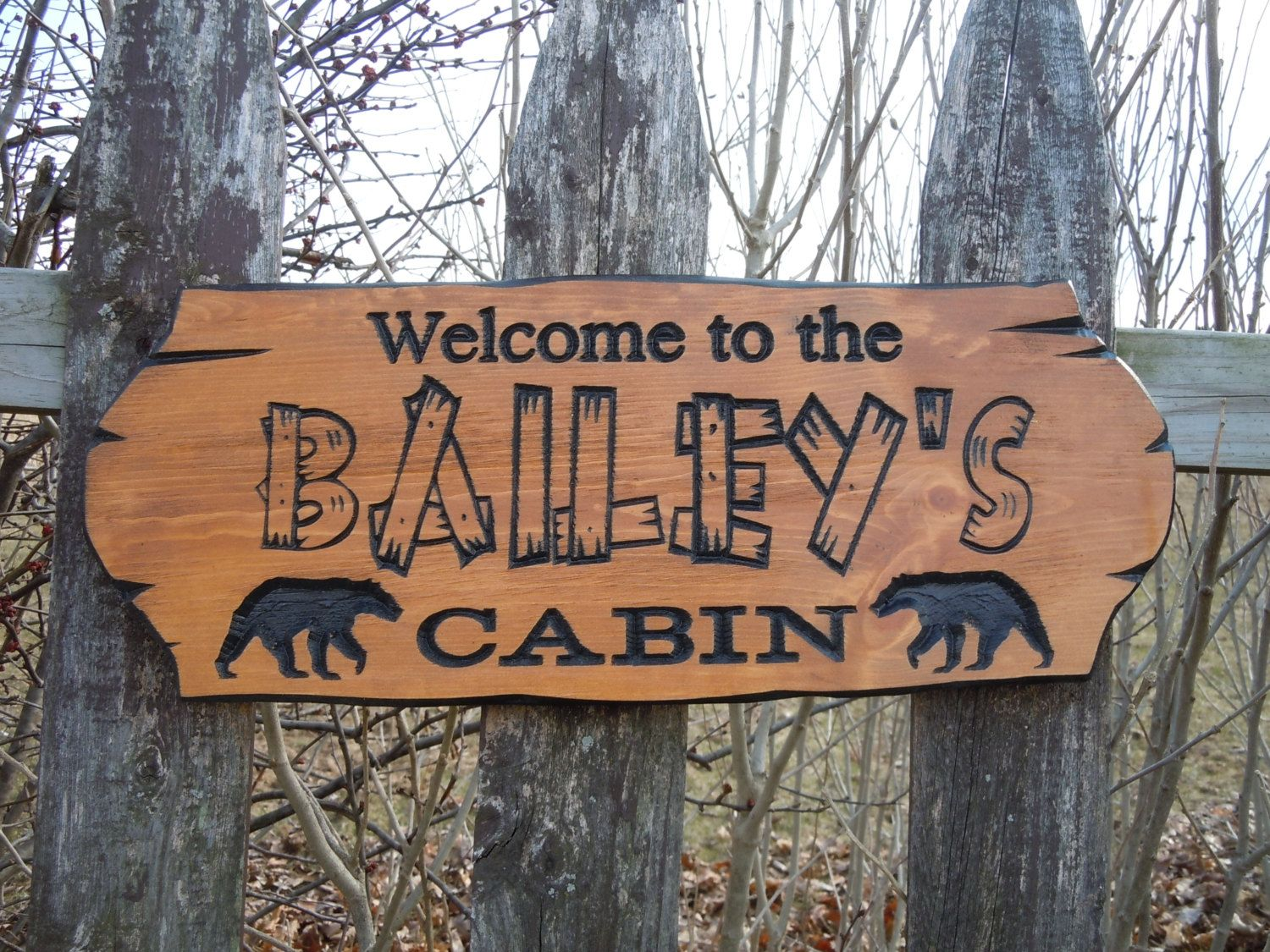 Cabin sign last name personalized wooden carved rustic hunting camp outdoor custom engraved plaque bear image housewarming gift pine 303 by tkwoodcrafts on