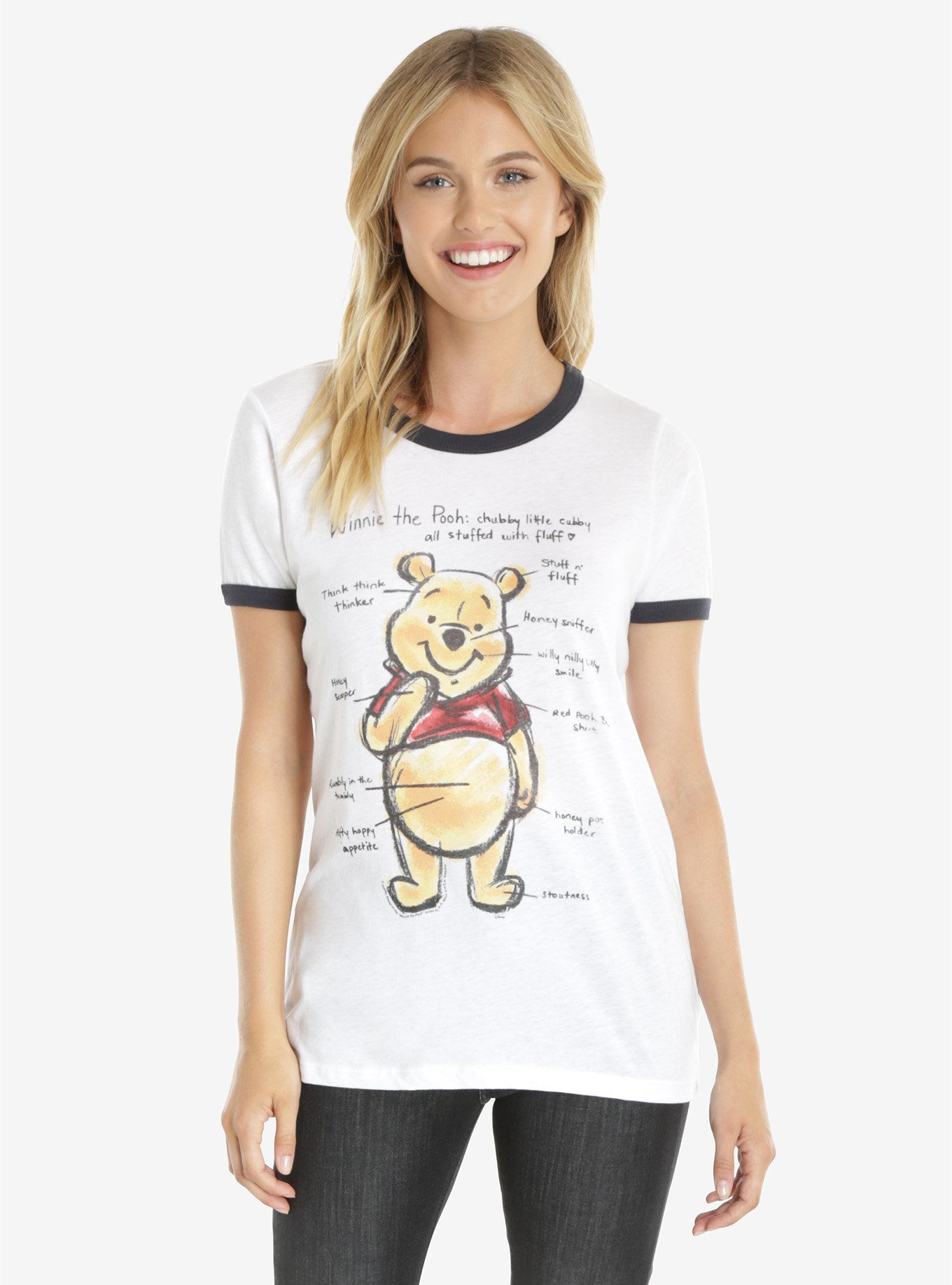 Junk Food Disney Winnie The Pooh Diagram Womens Ringer Tee  a61f9cd62