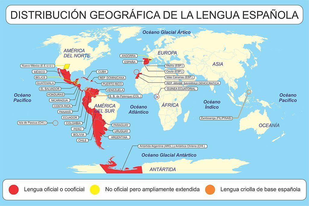 Distribución Geográfica Del Idioma Español Mapa Paises Español Vocabulario Español
