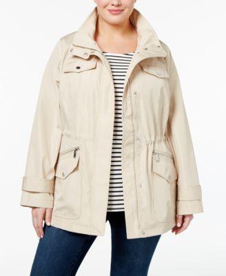 69d01bcf576fd MICHAEL KORS Michael Michael Kors Plus Size Hooded Utility Raincoat.   michaelkors  cloth   jackets