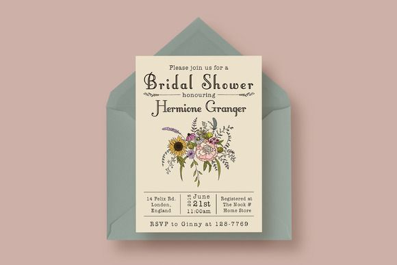 Wildflower Bridal Shower Invitation By Knotted Design On