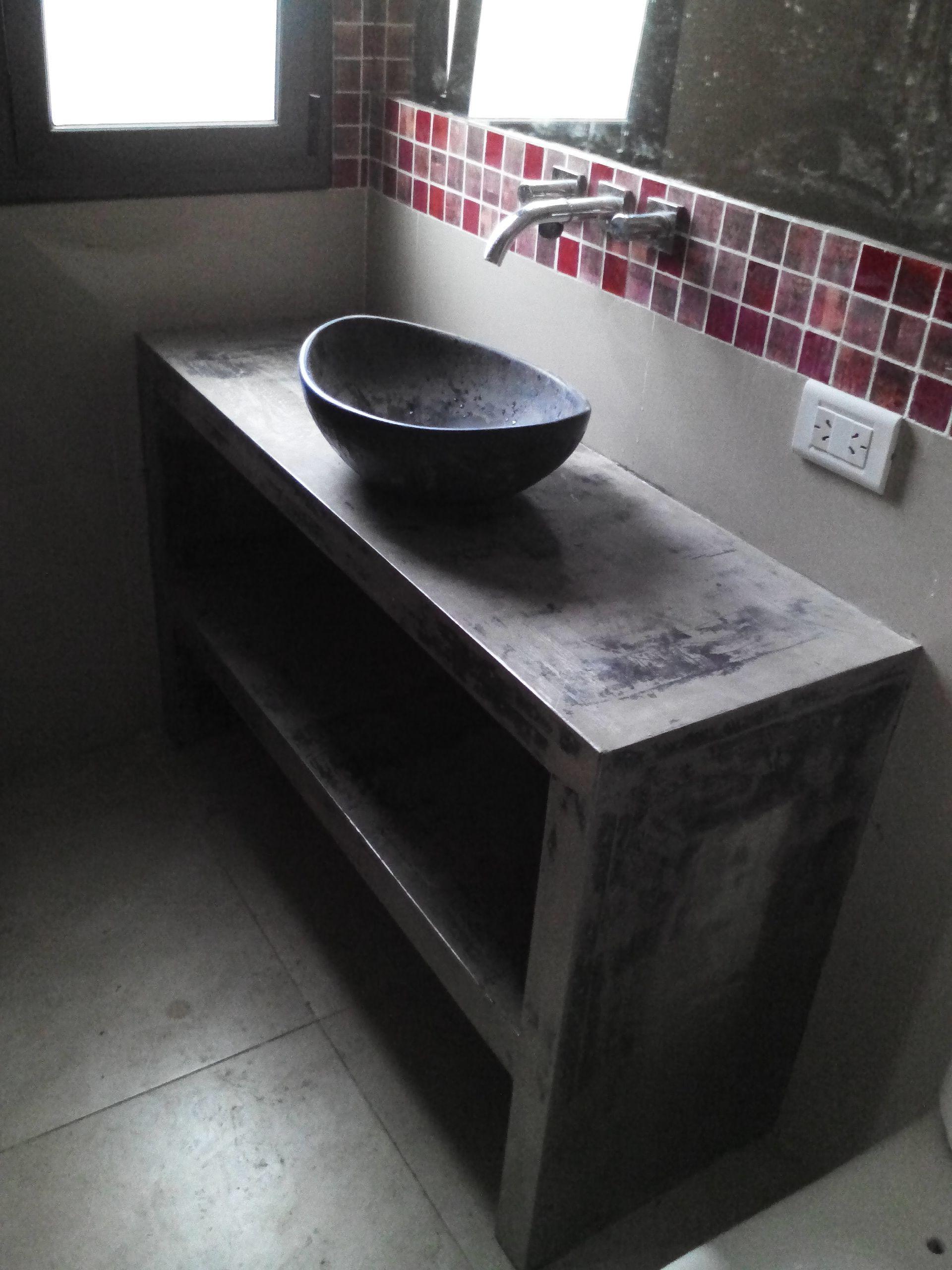 Estudio juarez lico mesada cemento alisado cocinas en for Pared de bano de concreto encerado