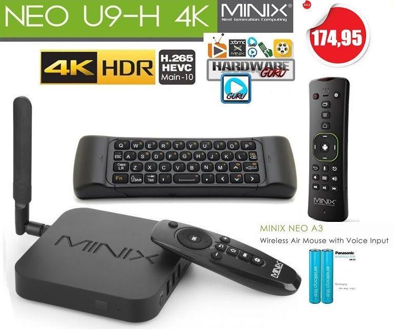 De Minix Neo U9-H incl  Hardwareguru, A3 flymouse, 2