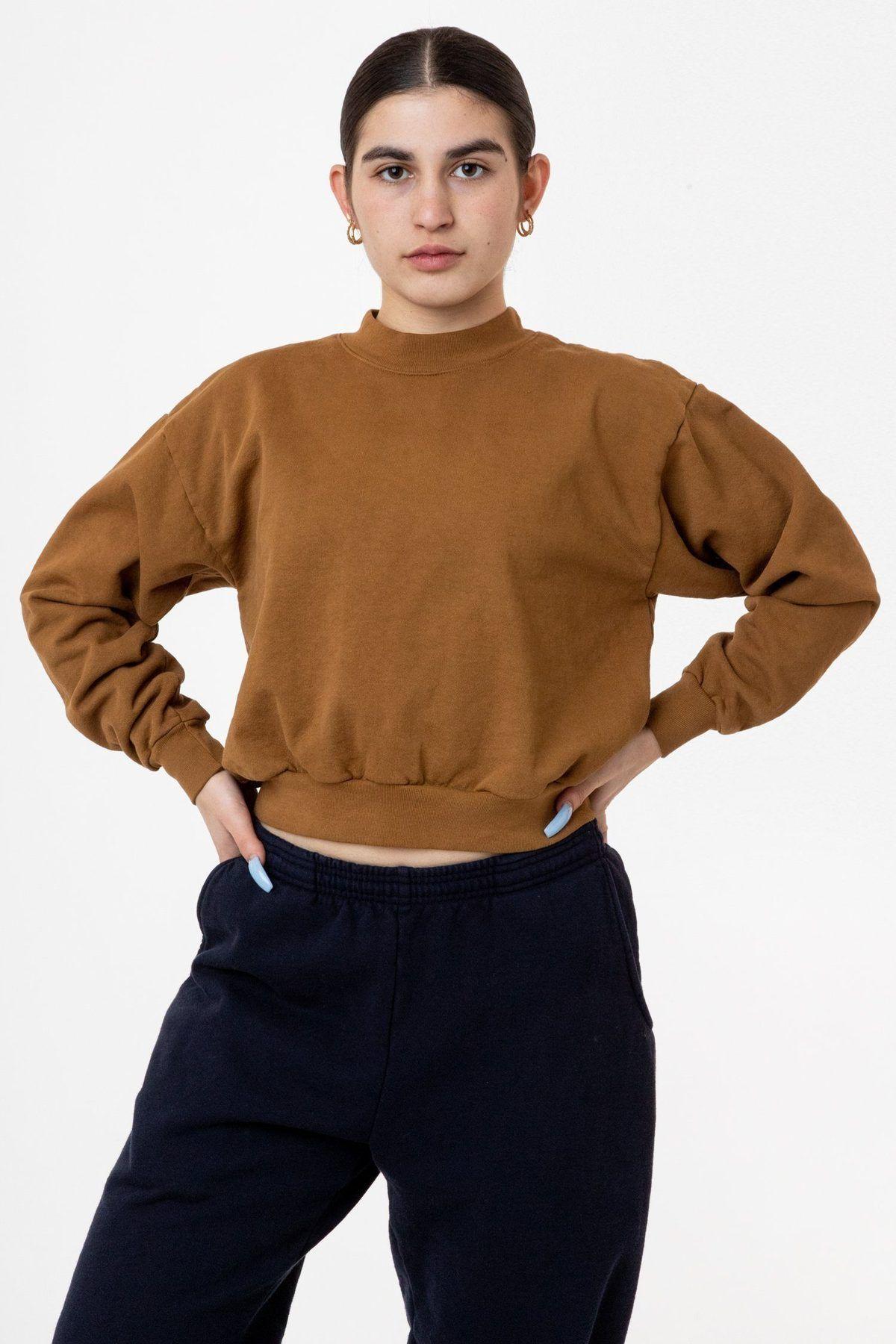 Hf06gd 14 Oz Garment Dye Heavy Fleece Cropped Mock Neck Pullover In 2020 Garment Dye High Waisted Pants Sweatshirts Women