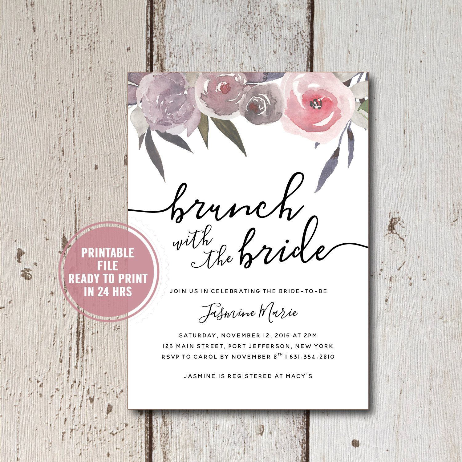 Bridal Shower Invitation, Brunch with the Bride Invitation, Rustic Bridal Shower Invitation,Floral Bridal Shower Invitation Instant Download by ShadesOfGrace1 on Etsy