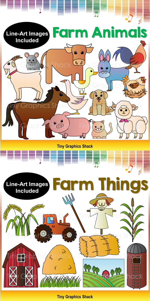 Farm Things And Animals Clipart Field Grass Barn A Bale Of Hay Scarecrow Haystack Tractor Pitchfork Silo Crop Line Art Images Animal Clipart Clip Art