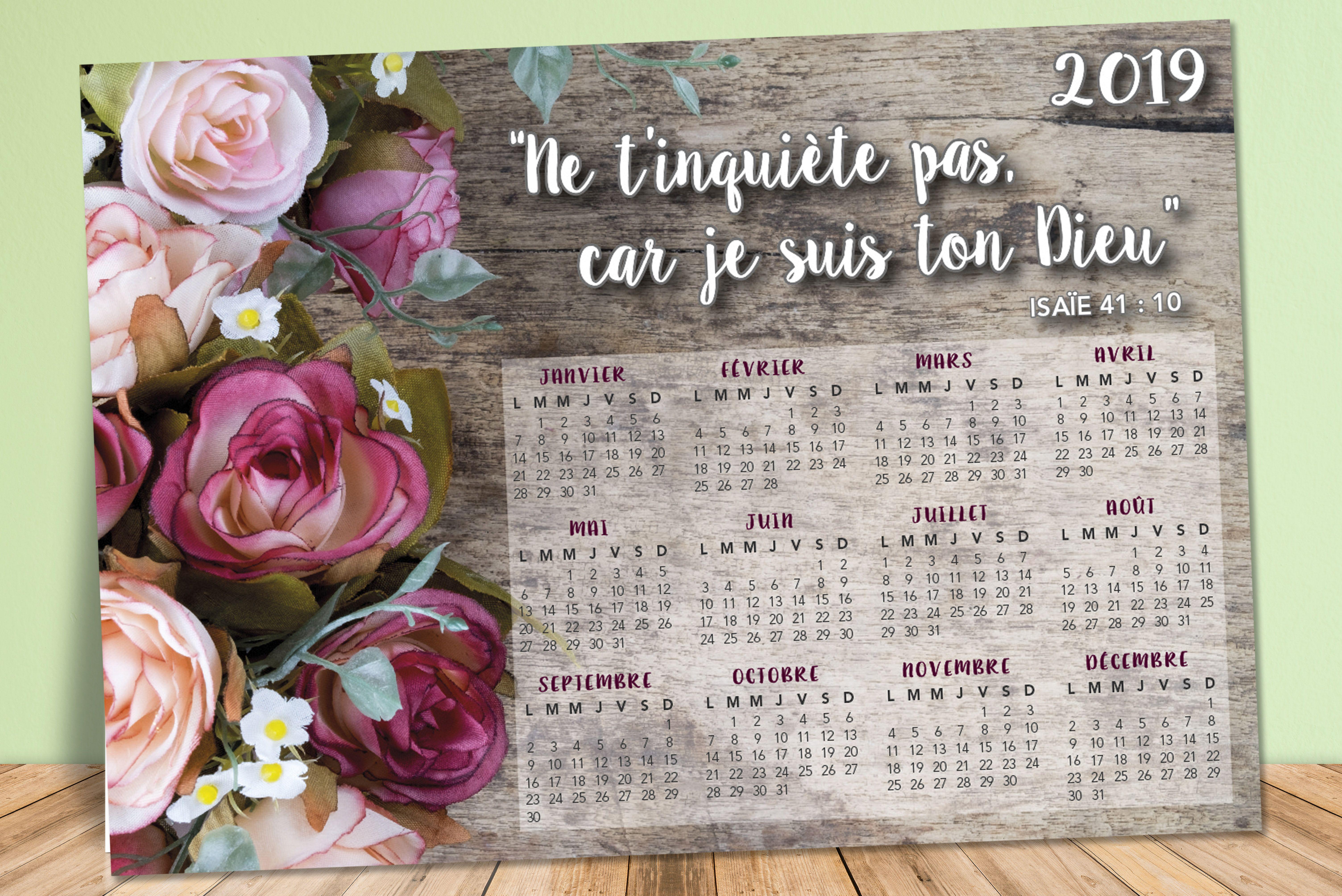 Calendrier 20.Calendrier 2019 Jw Avec Texte De L Annee Isaie 41 10 Ne T