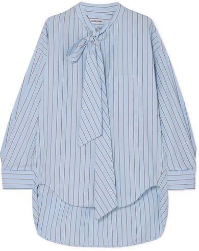 d0756ff85815 Balenciaga Swing Printed Striped Cotton-poplin Shirt - Blue in 2019 ...