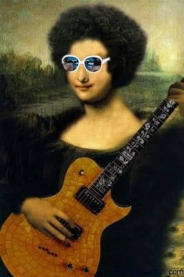From the hardcore look of Mona Lisa to one of her cool looks, this Mona Lisa looks English! She is playing a guitar with some cool glasses on.