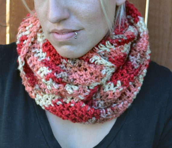 Varigated red tones crocheted winter infinity by ValkinThreads
