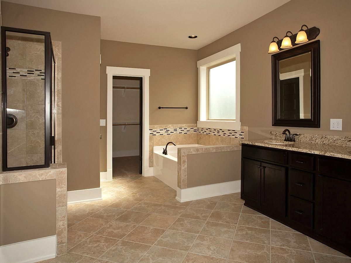 Master bathroom add tile flooring frame the mirror stain for Brown colors for walls