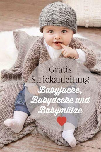 Eine Babyjacke, Mütze und Decke stricken | Baby jacke