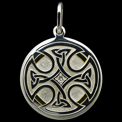 Sterling Silver Pendant Engraved With Celtic Cross With Partial Gold