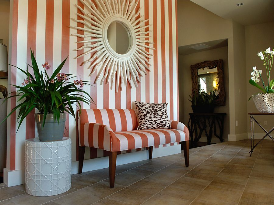 Bold Stripes And Beach Cabana Style Lend A Casual Air Of Elegance To The  Foyer Of HGTV Green Home